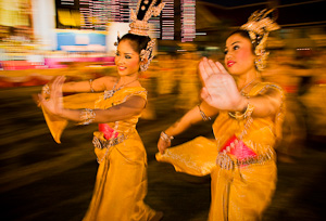 Thai dancers on King's Birthday, Petchiburi, Thailand