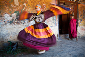 Bhutan dancer preparing for Tsechu