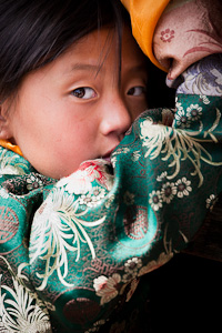 Bhutan girl in silk