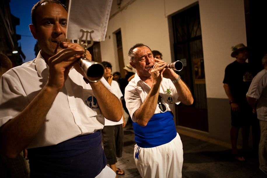 Musicians playing traditional reed instruments