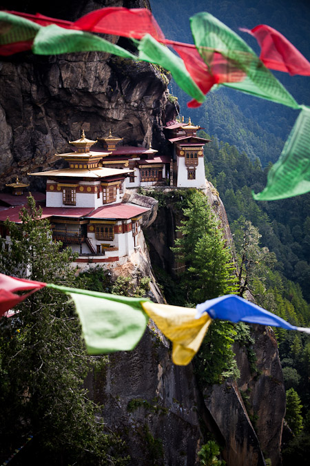Tiger's Nest Monastery through Bhutanese prayer flags