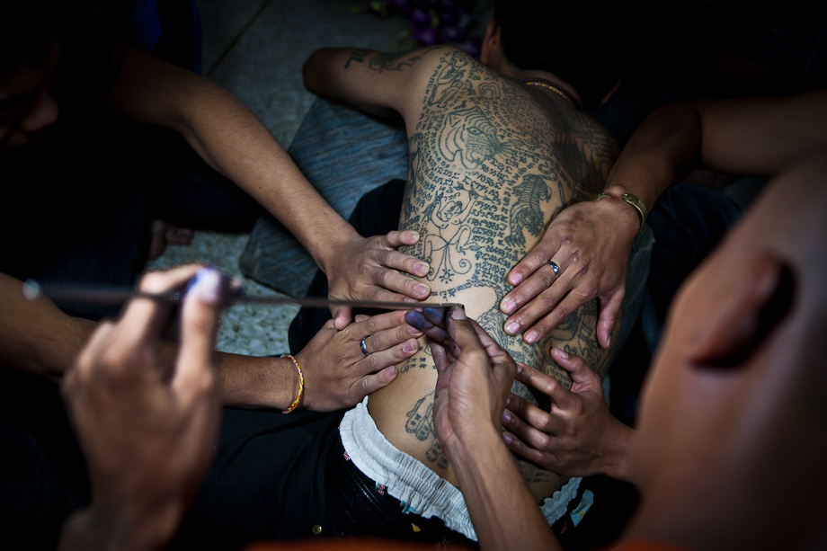 Wat Bang Phra, Wai Khru Tattoo Festival, Thailand, tattoo view from above