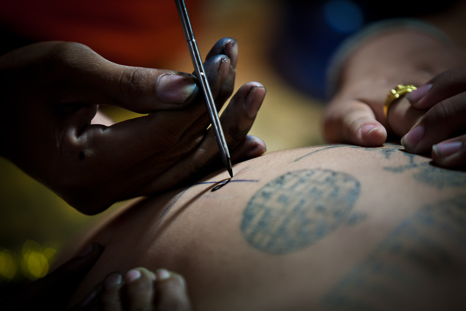 Wat Bang Phra, Wai Khru Tattoo Festival, Thailand, creating tattoos