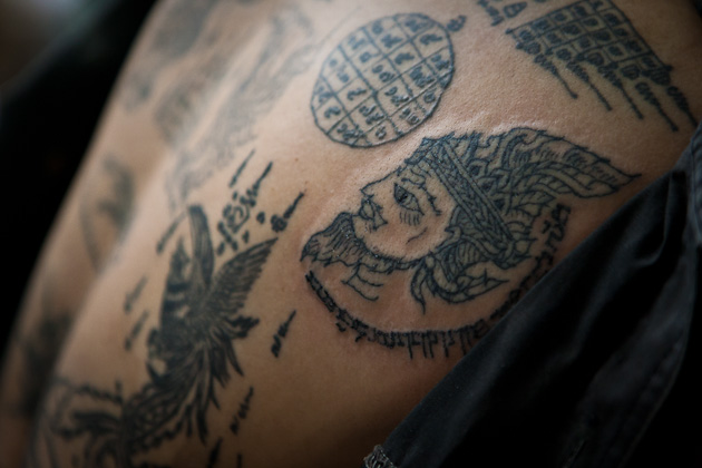 Wat Bang Phra, Wai Khru Tattoo Festival, Thailand, back tattoos