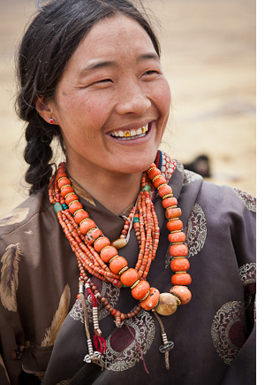 Nomad lady with jewel necklace, Qinghai, Tibetan plateau